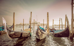 Gondolas at the  Piazza San Marco, Venice Stock Images