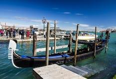Gondolas Piazza San Marco, Venice, Italy stock photo