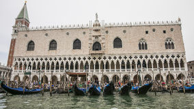 Gondolas pier near Doges palace in summer Venice Royalty Free Stock Images