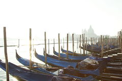 Gondolas pier on Saint Marco square Royalty Free Stock Photo