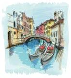 2 gondolas. Ponte del Mondo Novo. Venice. 2 gondolas. Ponte del Mondo Novo, Campo S.Maria Formosa. Venice, Italy stock illustration