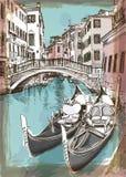 2 gondolas. Ponte del Mondo Novo. Venice. 2 gondolas. Ponte del Mondo Novo, Campo S.Maria Formosa. Venice, Italy vector illustration