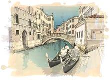 2 gondolas. Ponte del Mondo Novo. Venice. 2 gondolas. Ponte del Mondo Novo, Campo S.Maria Formosa. Venice, Italy / Vector illustration Stock Photos