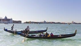 Gondolas racing in Venice. Royalty Free Stock Photography
