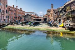 Gondolas at a repair yard royalty free stock images