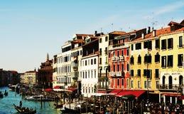 Gondolas and restaurants, outdoors, in Venice, Italy, Europe Royalty Free Stock Photo
