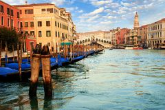 Gondolas in the Rialto bridge Royalty Free Stock Photo