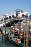 Gondolas. And the Rialto Bridge, Venice, Italy Royalty Free Stock Images
