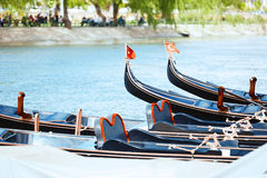 Gondolas in the river Royalty Free Stock Image