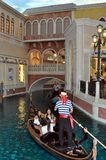 Gondolas and river at Venetian hotel Las Vegas Stock Images