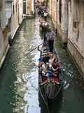 Gondolas Rowing in Side Canal, Venice Royalty Free Stock Photography
