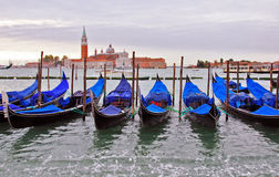 Gondolas by Saint Georgio Stock Photo