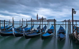 Gondolas and San Giorgio Maggiore Church Royalty Free Stock Photo