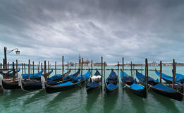 Gondolas and San Giorgio Maggiore Church Royalty Free Stock Image