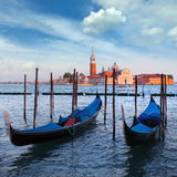 Gondolas and San Giorgio Maggiore church on Grand Canal in Venic Stock Image