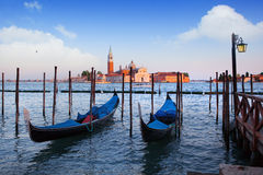 Gondolas and San Giorgio Maggiore church on Grand Canal in Venic Royalty Free Stock Photography