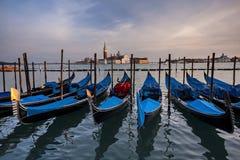 Gondolas and San Giorgio Maggiore church Stock Photography