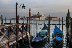 Gondolas and San Giorgio Maggiore church on Grand Canal in Venice. Italy Stock Images