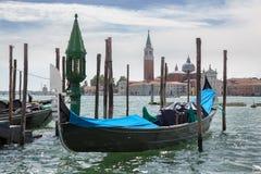 Gondolas and San Giorgio Maggiore church in Venice Stock Image