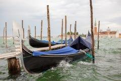 Gondolas and San Giorgio Maggiore church in Venice Royalty Free Stock Image