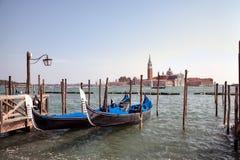Gondolas and San Giorgio maggiore in Venice Stock Photos