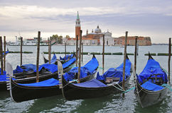 Gondolas and San Giorgio Maggiore Royalty Free Stock Photos