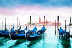 Gondolas and San Giorgio Stock Images