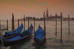 Gondolas in San Marco Square, Venice italy Royalty Free Stock Photography
