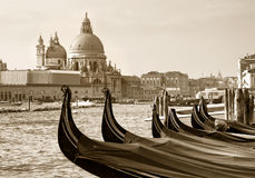 Gondolas at San Marco, Venice stock photo
