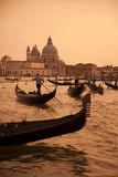 Gondolas at sunset. royalty free stock photo