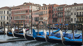 Gondolas at sunset on the Grand Canal Royalty Free Stock Image