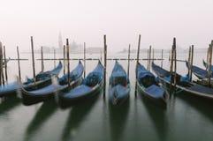 Gondolas at their moorings in Venice, Veneto, Italy, Europe Royalty Free Stock Photo