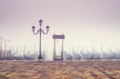 Gondolas in thick fog. Venice - Italy Royalty Free Stock Photos