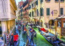 Gondolas Tourists Colorful Small Side Canal Bridge Venice Italy Stock Images