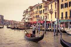 Gondolas with tourists on the Grand Canal in Venice Stock Photos
