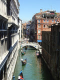 Gondolas traffic. In Venice, Italy royalty free stock images