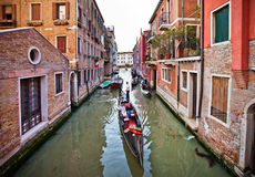 Gondolas traffic in Venice city Royalty Free Stock Image
