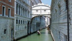 Gondolas under the Bridge of Sighs, Ponte dei Sospiri. Venice, Italy 19 May 2018: gondolas under the Bridge of Sighs, Ponte dei Sospiri in Venice, 19 May 2018 stock footage