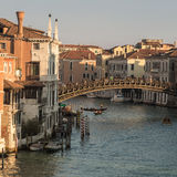 Gondolas under Ponte dell'Accademia in Venice Royalty Free Stock Images