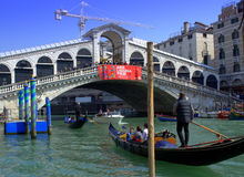 Gondolas under Rialto Bridge,Venice Stock Photo