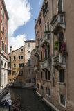 Gondolas Under The Terraces of Venice. From a Trip around Venice, Italy royalty free stock images