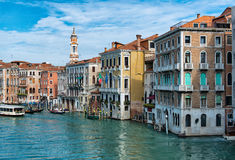 Gondolas and vaporetto on the Grand Canal Stock Images