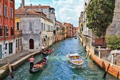 Gondolas on a Venetian canal Stock Image