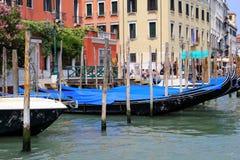 The gondolas on the venetian canal. Royalty Free Stock Photos