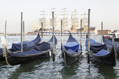 Gondolas in the Venetian lagoon, Italy Stock Photography