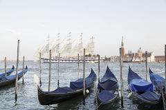Gondolas in the Venetian lagoon, Italy Royalty Free Stock Photography