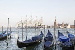 Gondolas in the Venetian lagoon, Italy Royalty Free Stock Photography