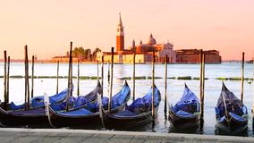 Gondolas in Venezia stock video