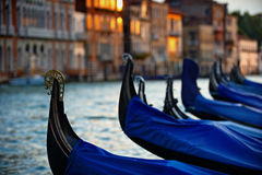 Gondolas in Venice. At sunset shallow depth of field Royalty Free Stock Photo