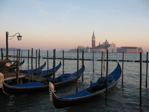 Gondolas in Venice. View from the bank at St Marco square in Venice Royalty Free Stock Image